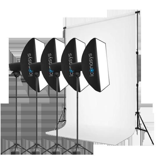 4 LED Studio Light Kit - Product Photography with White Backgrounds