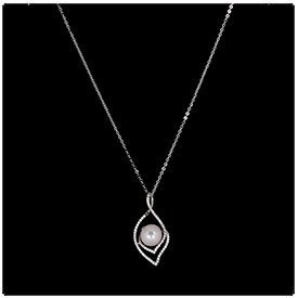 360 Product View of a White Pearl Necklace on Black Background